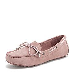 Tata/他她2019春专柜同款浅粉羊皮革豆豆鞋乐福鞋休闲女鞋FIF02AM9