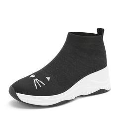 Tata/他她2019春专柜同款黑色袜子鞋坡跟休闲鞋女单鞋FHF01AM9