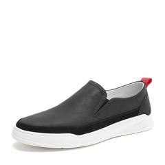 Tata/他她2019春专柜同款黑色牛皮革平底鞋休闲鞋男单鞋CGM01AM9