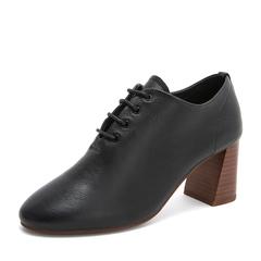 Tata/他她2019春专柜同款黑色牛皮革通勤绑带粗高跟女鞋FRF01AM9