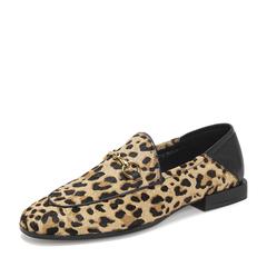 Tata/他她2019春棕/黑拼接豹纹通勤乐福鞋方跟女单鞋DS716AM9