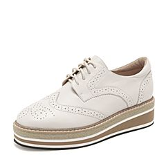 Tata/他她2019春白色牛皮革英伦单鞋拼色坡跟休闲女鞋DS196AM9