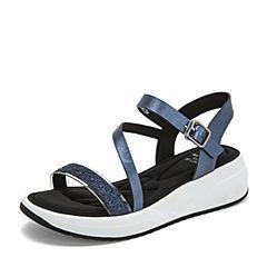 Tata/他她2019夏专柜同款深兰拼接水钻一字带坡跟休闲女凉鞋FP202BL9