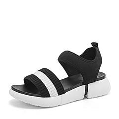 Tata/他她2019夏专柜同款黑/白条纹布面一字带坡跟休闲女凉鞋GSF01BL9
