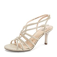 Tata/他她2019夏专柜同款金色亮片布条带罗马鞋细高跟女凉鞋2DZK1BL9