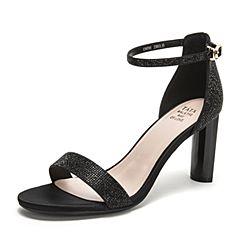 Tata/他她2019夏专柜同款黑色一字带高跟女凉鞋GWF01BL9