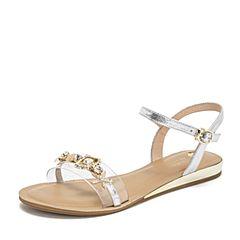 Tata/他她2019夏专柜同款银/白拼接胶片一字带平底女凉鞋FFR03BL9