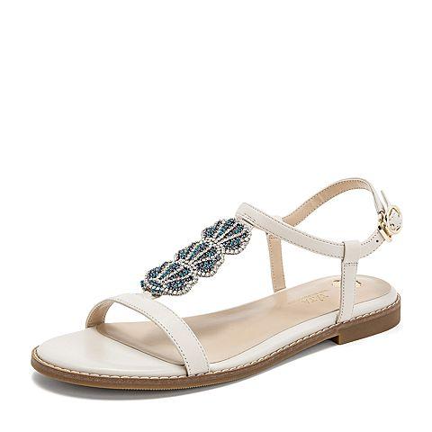 Tata/他她2019夏專柜同款米色羊皮革水鉆鴛鴦鞋一字帶女涼鞋FKGA7BL9