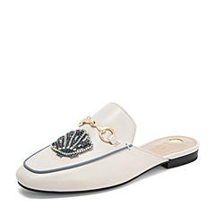 Tata/他她2019夏专柜同款米色拼接珍珠水钻穆勒鞋凉拖女凉鞋FOV01BH9