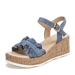 Tata/他她2019夏专柜同款湖蓝羊皮革绒面荷叶边一字带坡跟女凉鞋GIF01BL9