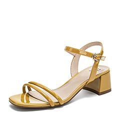 Tata/他她2019夏专柜同款黄色漆牛皮革一字带粗跟女凉鞋GRF01BL9