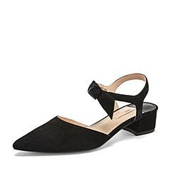 Tata/他她2019夏专柜同款黑色羊皮革尖头一字带粗跟女凉鞋FKA12BH9