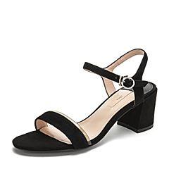 Tata/他她2019夏专柜同款黑色拼接绒面胶片一字带粗高跟女凉鞋2ICB2BL9