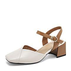 Tata/他她2019夏专柜同款米白羊皮革方头一字带女凉鞋FXF01BH9