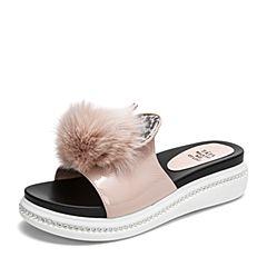 Tata/他她2019夏专柜同款粉色漆皮兔毛球拖鞋坡跟女凉拖GJF01BT9