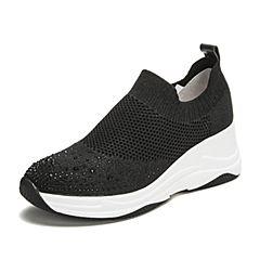 Tata/他她2019春专柜同款黑色水钻袜子鞋坡跟休闲女鞋FHF02AM9