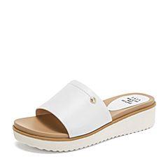 Tata/他她2019夏专柜同款白色牛皮革休闲坡跟女凉拖FAFA9BT9