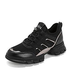 Tata/他她2019春黑色拼接运动休闲鞋厚底女单鞋DSTL5AM9