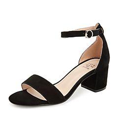 Tata/他她2019夏黑色羊皮革绒面一字带粗高跟女凉鞋DSTOPBL9