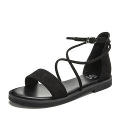 Tata/他她2019夏黑色绒布罗马鞋条带休闲女凉鞋DSRB9BL9