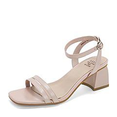 Tata/他她2019夏粉色羊皮革通勤一字带粗高跟女凉鞋DSXJJBL9