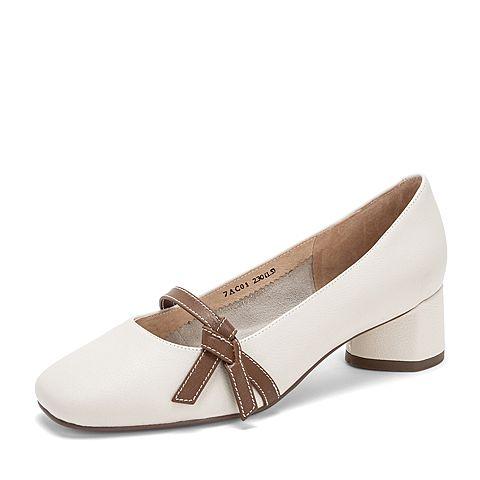 Tata/他她2019春专柜同款米色牛皮革方头中跟单鞋7AC01AQ9