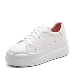 Tata/他她2019秋專柜同款白色牛皮革綁帶厚底小白鞋休閑女單鞋EUF02CM9