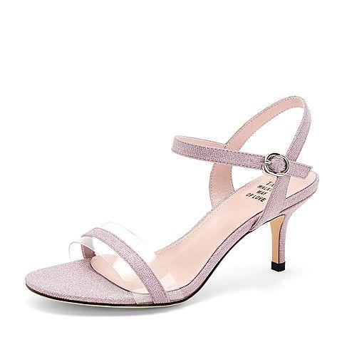 Tata/他她2019夏专柜同款粉色拼接一字带透明胶片细高跟女凉鞋WBB01BL9
