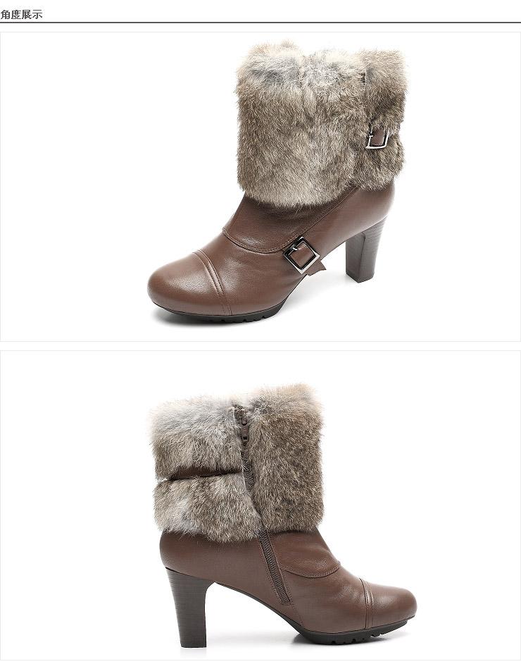 teenmix/天美意 及踝靴冬季黑色软牛皮女皮靴(毛靴)cwp49dd2