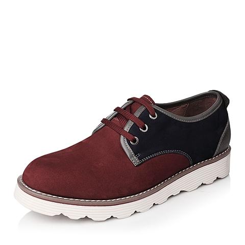 Teenmix/天美意秋季专柜同款红色磨砂牛皮系带男单鞋1LH01CM4