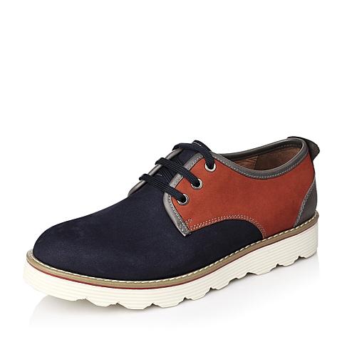 Teenmix/天美意秋季专柜同款蓝色磨砂牛皮系带男单鞋1LH01CM4