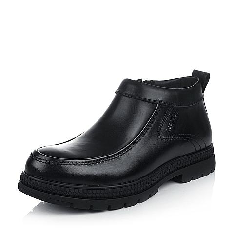 Teenmix/天美意冬季黑色牛皮男皮靴FAZ38DD4