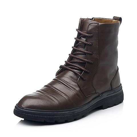 Teenmix/天美意冬季棕色软牛皮男皮靴F6123DZ4
