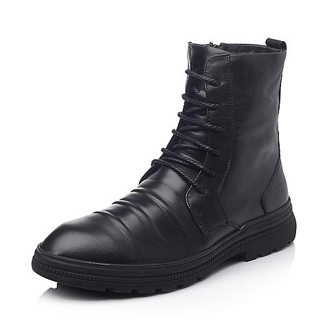 Teenmix/天美意冬季黑色软牛皮男皮靴F6123DZ4