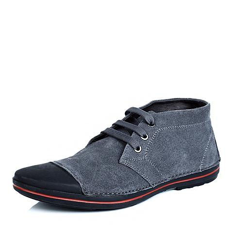 Teenmix/天美意灰色反绒牛皮F697DDM4男皮鞋冬季