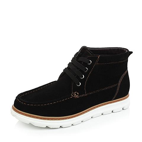 Teenmix/天美意黑色反绒牛皮17826DD4男皮靴冬季