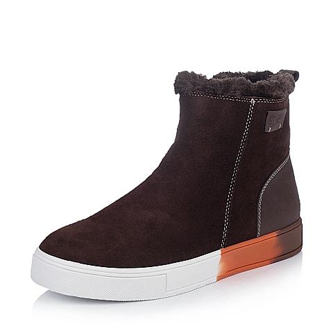 Teenmix/天美意啡色反绒牛皮/啡色蜡牛皮31822DD4男皮靴冬季