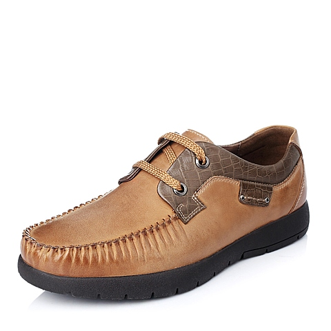 Teenmix/天美意秋季专柜同款浅棕色时尚磨砂牛皮男皮鞋1LD01CM4