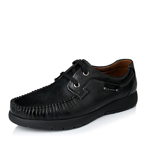 Teenmix/天美意秋季专柜同款黑色时尚磨砂牛皮男皮鞋1LD01CM4