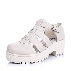 Teenmix/天美意米白色软牛皮女皮鞋6JP37AK4女凉鞋春季