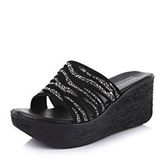 Teenmix/天美意夏季专柜同款黑银贴毛烫钻胶片皮女鞋6TP03BT4