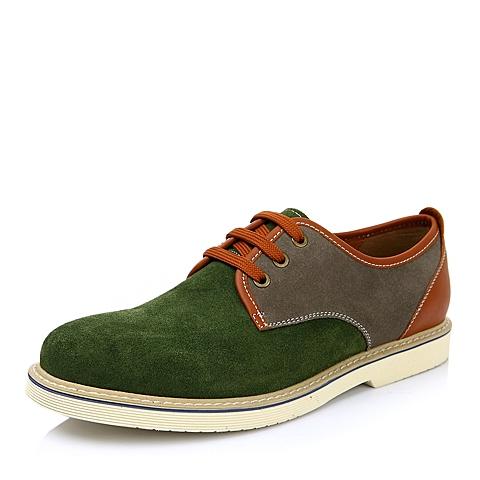 TEENMIX/天美意春季专柜同款绿色软面牛反绒男皮鞋1GX02AM4