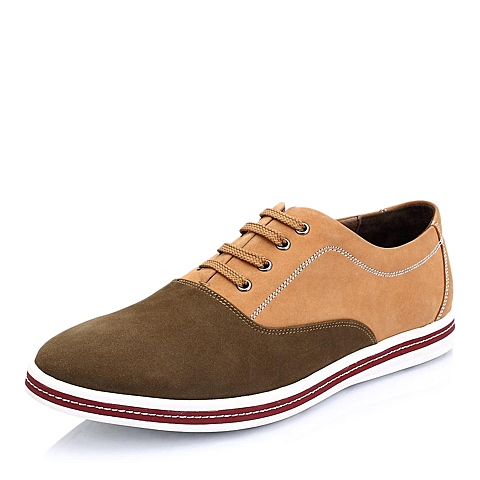 Teenmix/天美意春季棕色/黄色磨砂牛皮拼接撞色男单鞋A2506AM5