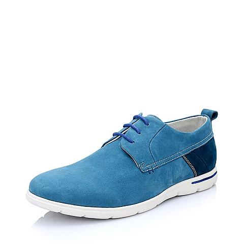 Teenmix/天美意春季浅蓝色磨砂/深蓝色磨砂牛皮男单鞋A6182AM5