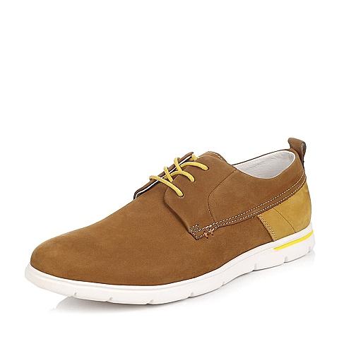 Teenmix/天美意春季棕色磨砂/黄色磨砂牛皮男单鞋A6182AM5