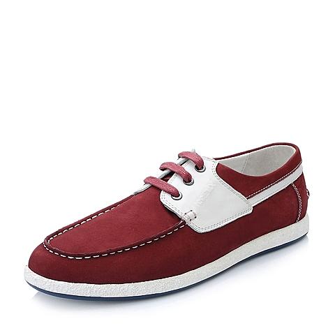 Teenmix/天美意春季红色磨砂牛皮/白色牛皮商务休闲男单鞋V0999AM5