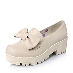 Teenmix/天美意春季专柜同款女子米白色牛皮女单鞋6WA22AM5