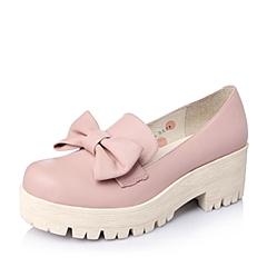 Teenmix/天美意春季专柜同款女子粉色牛皮女单鞋6WA22AM5