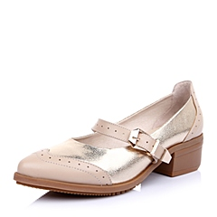 Teenmix/天美意2015年春季杏色牛皮/金色贴膜羊皮拼色搭扣女单鞋39-K8AQ5