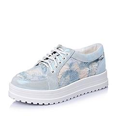 Teenmix/天美意春季专柜同款浅兰山羊皮/织物女单鞋6RV47AM5